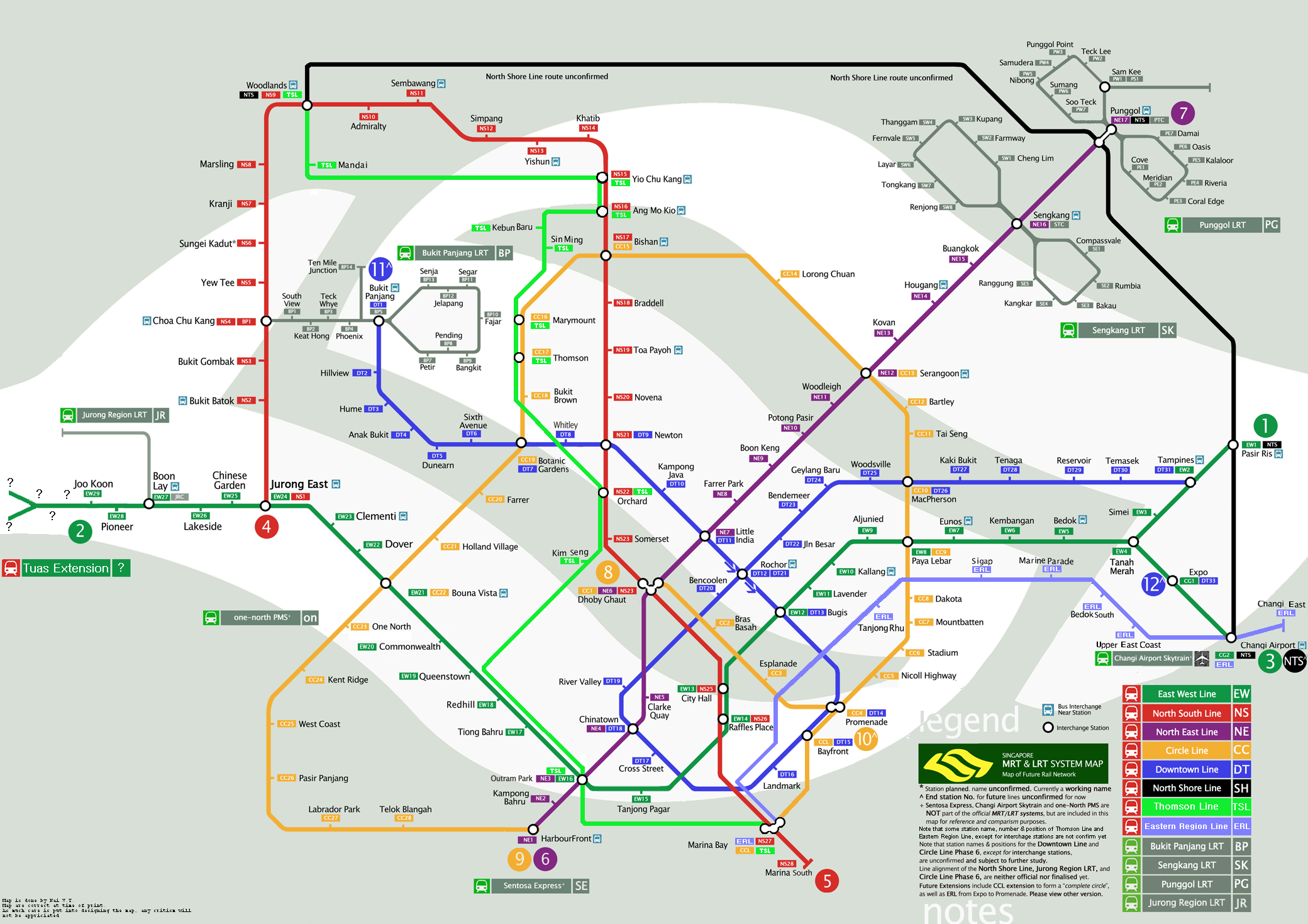 Singapore Future MRT/LRT Map (Updated)