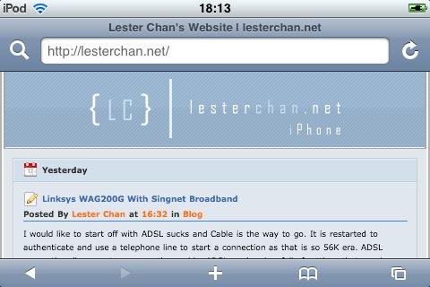 lesterchan.net on iPhone (Landscape - Width: 480px)