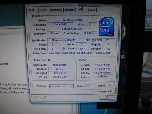 Core i7 Specifications in CPU-Z