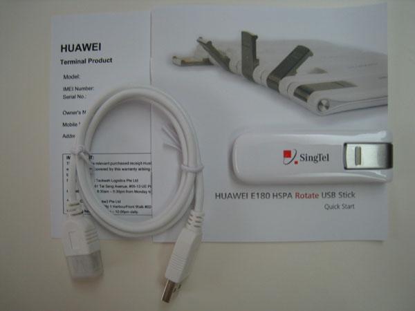Singtel Huawei E180 Modem Box Contents